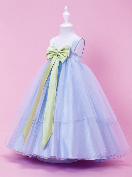 Princess / Ball Gown / A-Line Tea Length Wedding Party Tulle / Stretch Satin Sleeveless Straps With Bow(S) / Draping / Spring / Summer / Fall / Winter_2