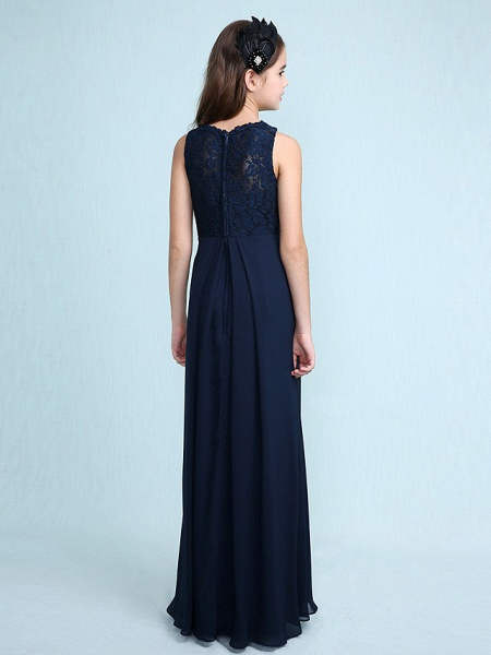 Sheath / Column Scoop Neck Floor Length Chiffon / Lace Junior Bridesmaid Dress With Lace / Natural_3