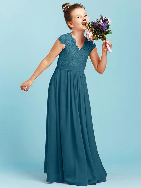 Princess / A-Line V Neck Floor Length Chiffon / Lace Junior Bridesmaid Dress With Sash / Ribbon / Pleats / Wedding Party_44