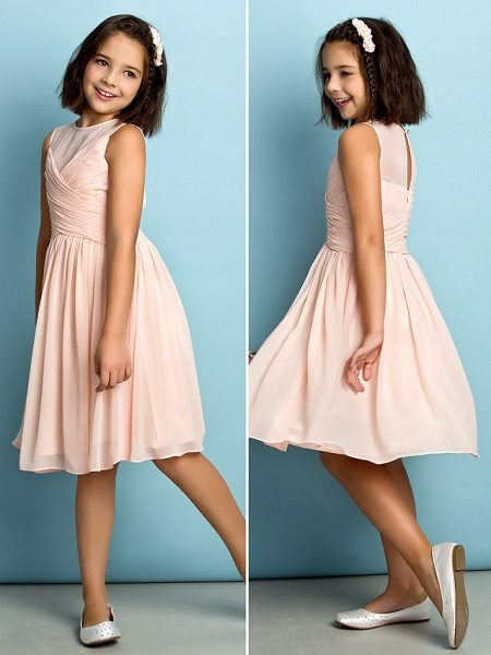 A-Line Jewel Neck Knee Length Chiffon Junior Bridesmaid Dress With Criss Cross / Natural / Mini Me_3