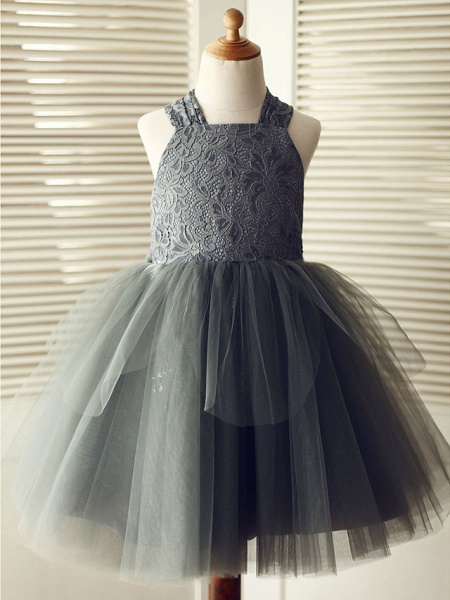 Ball Gown Knee Length Wedding / Birthday / Pageant Flower Girl Dresses - Lace / Tulle Sleeveless Square Neck With Bows_1