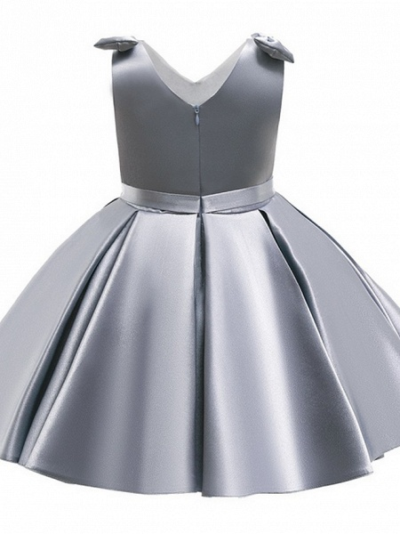 Princess / Ball Gown Knee Length Wedding / Party Flower Girl Dresses - Satin Sleeveless V Neck With Bow(S) / Pleats_3