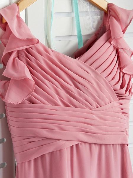 A-Line Boat Neck Maxi Chiffon Junior Bridesmaid Dress With Cascading Ruffles / Ruching_5