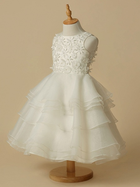 A-Line Knee Length Wedding / First Communion Flower Girl Dresses - Lace / Organza Sleeveless Scoop Neck With Lace_3