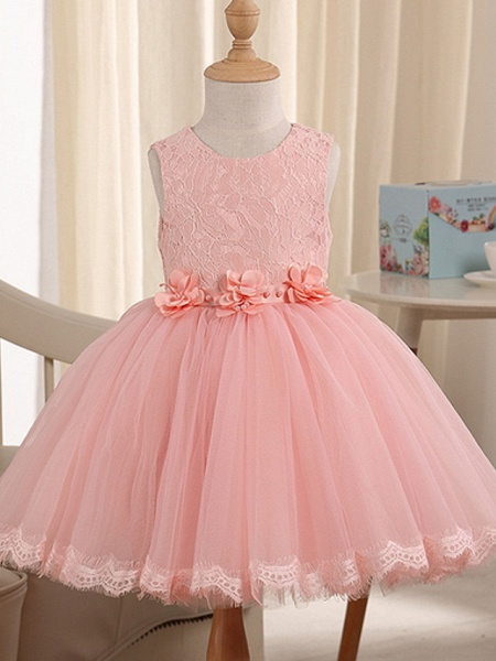 Princess Knee Length Pageant Flower Girl Dresses - Polyester Sleeveless Jewel Neck With Beading_1
