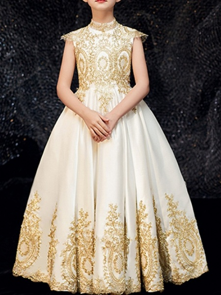 A-Line Floor Length Pageant Flower Girl Dresses - Polyester Sleeveless High Neck With Appliques_1
