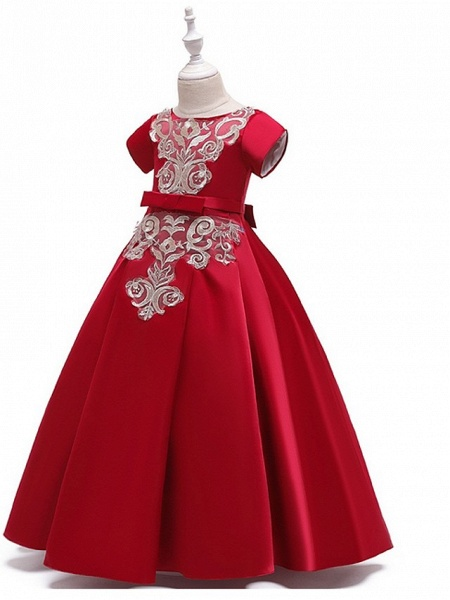 A-Line Round Floor Length Cotton Junior Bridesmaid Dress With Bow(S) / Appliques_9