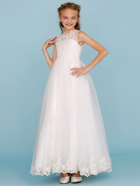 Princess / A-Line Crew Neck Ankle Length Lace Over Tulle Junior Bridesmaid Dress With Sash / Ribbon / Beading / Appliques / Wedding Party / Open Back_5