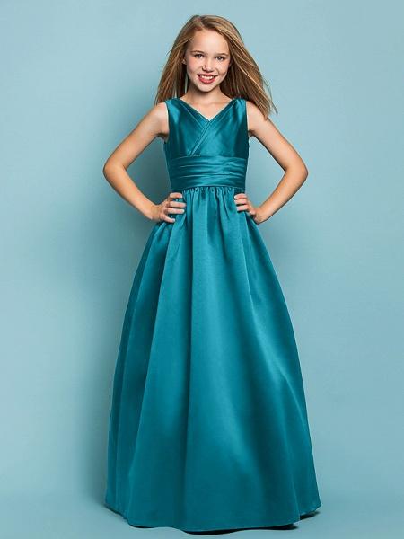 Princess / A-Line V Neck Floor Length Satin Junior Bridesmaid Dress With Sash / Ribbon / Criss Cross / Spring / Summer / Fall / Apple / Hourglass_26