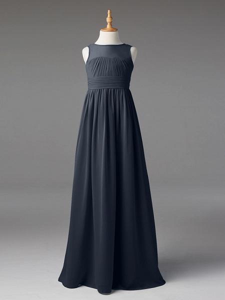 Princess / A-Line Jewel Neck Floor Length Chiffon Junior Bridesmaid Dress With Sash / Ribbon / Pleats_43