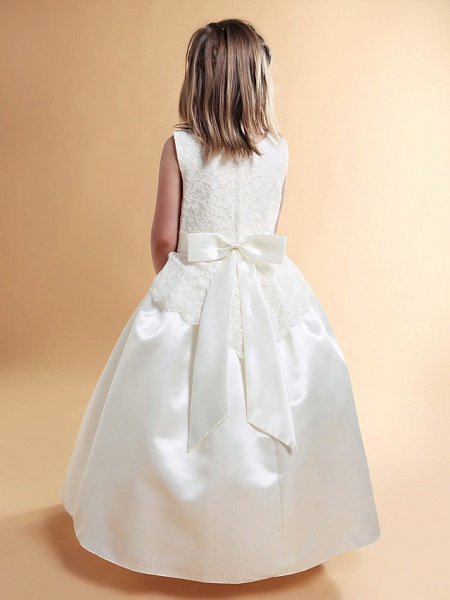 Princess / A-Line Floor Length Wedding / First Communion Flower Girl Dresses - Lace / Satin Sleeveless Scoop Neck With Lace / Sash / Ribbon / Bow(S) / Spring / Summer / Fall / Winter_5