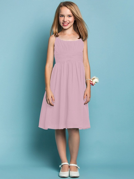 Sheath / Column Straps Knee Length Chiffon Junior Bridesmaid Dress With Ruched / Draping / Spring / Summer / Fall / Apple / Hourglass_9