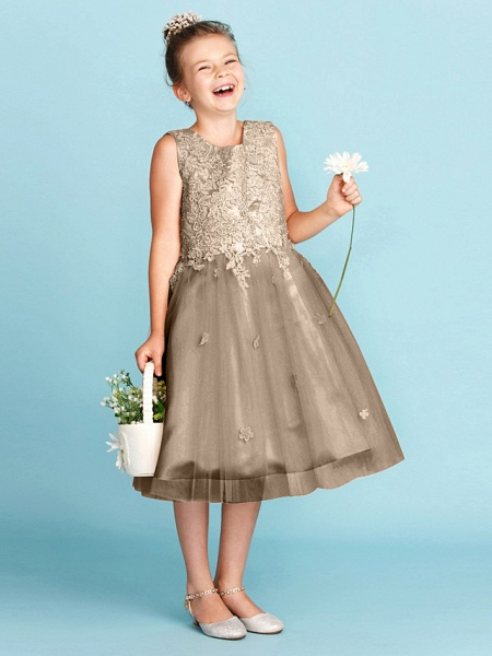 Princess / A-Line Jewel Neck Knee Length Lace / Tulle Junior Bridesmaid Dress With Bow(S) / Appliques / Wedding Party_35