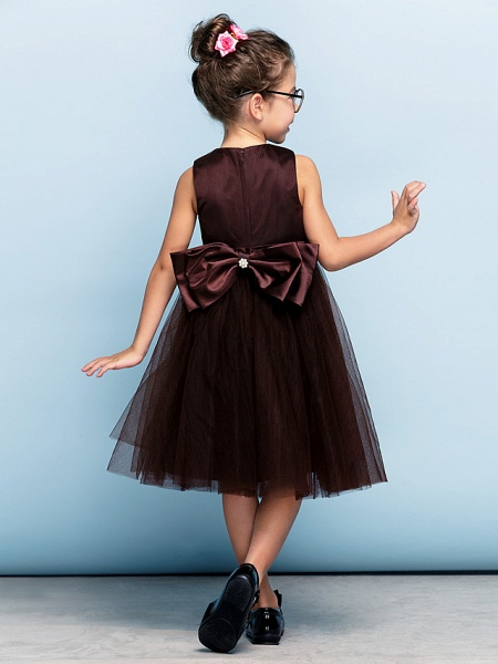 Princess Tea Length Party / Prom / Formal Evening Flower Girl Dresses - Tulle Short Sleeve Square Neck With Bow(S) / Ruched / Elegant_3