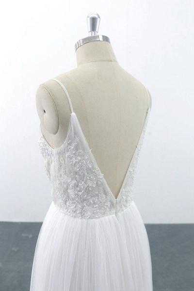 SD1955 Spaghetti Strap Pearls Boho Wedding Dress_3