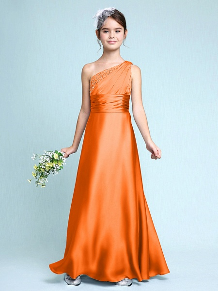 Sheath / Column One Shoulder Floor Length Chiffon Satin Junior Bridesmaid Dress With Ruched / Side Draping / Natural_17