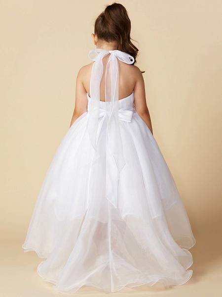A-Line Asymmetrical Wedding / First Communion Flower Girl Dresses - Organza Sleeveless Halter Neck With Bow(S) / Pleats_2