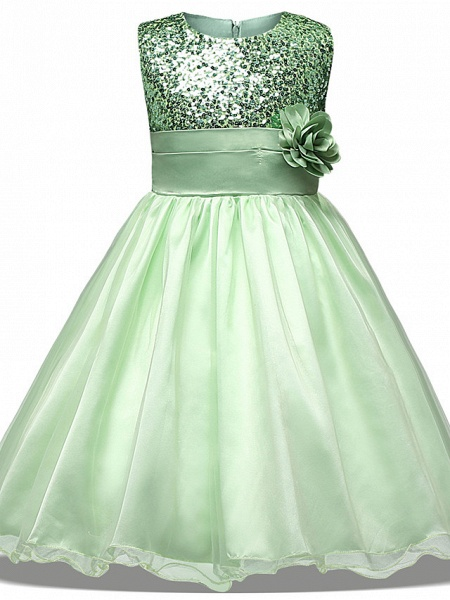 Princess Midi Wedding / Party / Pageant Flower Girl Dresses - Tulle Sleeveless Jewel Neck With Belt / Bow(S) / Appliques_6
