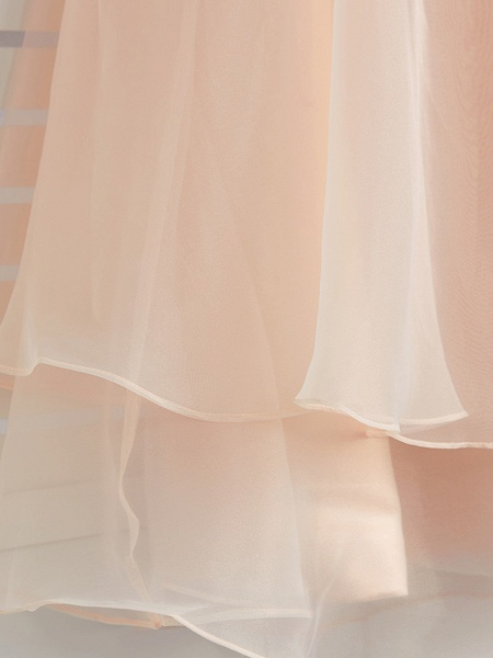 A-Line Jewel Neck Ankle Length Organza / Satin Junior Bridesmaid Dress With Beading / Tier_10