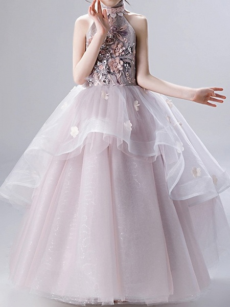 Ball Gown Ankle Length Pageant Flower Girl Dresses - Polyester Sleeveless High Neck With Ruffles / Appliques_1