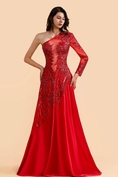 One Shoulder Mermaid Sequins Fuchsia Evening Dresses with Sleeves_4