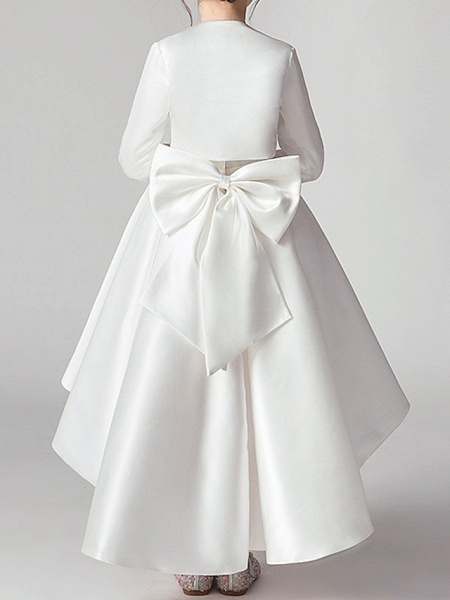 Two Piece Asymmetrical Polyester 3/4 Length Sleeve Jewel Neck With Bow(S) / Pleats_5