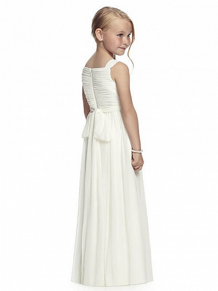 A-Line Round Neck Floor Length Chiffon Junior Bridesmaid Dress With Side Draping / First Communion_2