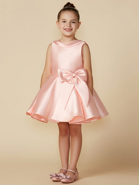 Princess Above Knee Wedding / First Communion Satin Sleeveless Jewel Neck With Bows_8
