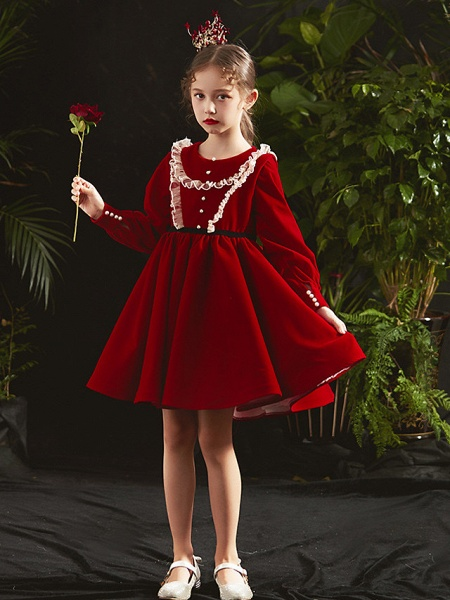 Princess / A-Line Knee Length Party / Birthday Flower Girl Dresses - Cotton Blend Long Sleeve Jewel Neck With Lace / Beading / Cascading Ruffles_3