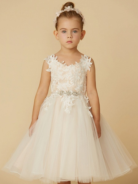 Princess Knee Length Wedding / First Communion Flower Girl Dresses - Lace / Tulle Sleeveless Spaghetti Strap With Crystal / Lace / Sashes / Ribbons_6