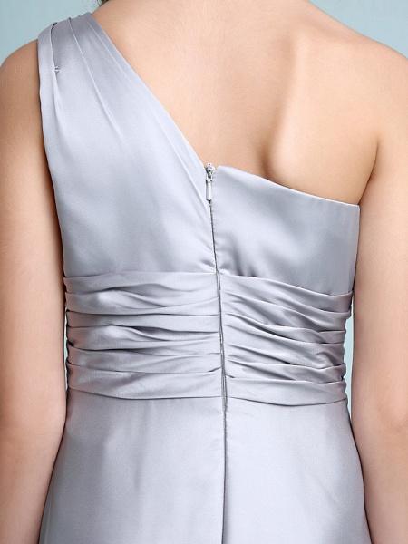 Sheath / Column One Shoulder Floor Length Chiffon Satin Junior Bridesmaid Dress With Ruched / Side Draping / Natural_10