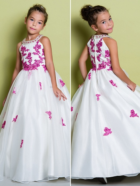 A-Line Floor Length Pageant Flower Girl Dresses - Organza Sleeveless Jewel Neck With Beading / Appliques_2