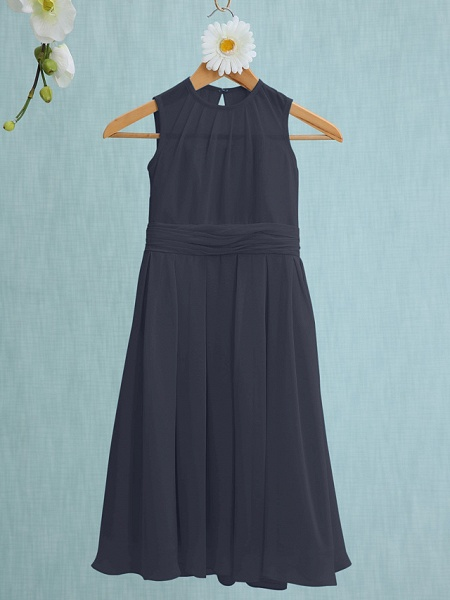 Sheath / Column Jewel Neck Knee Length Chiffon Junior Bridesmaid Dress With Ruched / Natural_34
