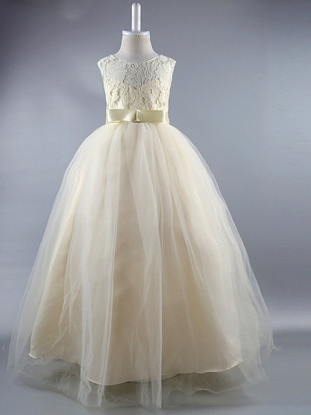 Ball Gown Ankle Length Wedding / First Communion / Pageant Flower Girl Dresses - Satin Sleeveless Jewel Neck With Lace / Sash / Ribbon / Draping / Elegant / Beautiful Back / See Through_1