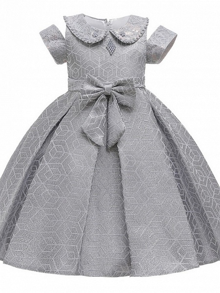 Princess / Ball Gown Knee Length Wedding / Party Flower Girl Dresses - Satin Short Sleeve Jewel Neck With Bow(S) / Beading_1