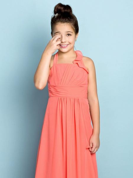 Sheath / Column Halter Neck Ankle Length Chiffon Junior Bridesmaid Dress With Side Draping / Natural / Mini Me_7