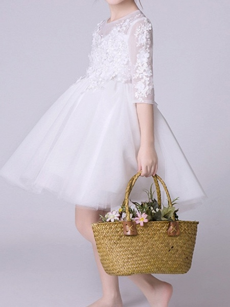 Princess Knee Length First Communion Flower Girl Dresses - Polyester Half Sleeve Jewel Neck With Appliques_3