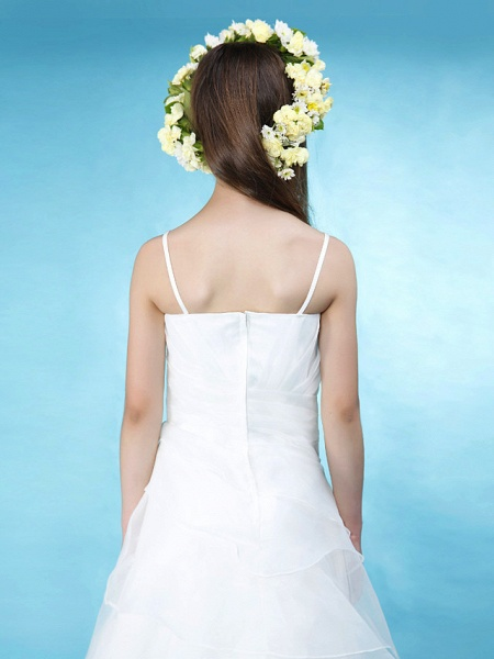 Princess / A-Line Spaghetti Strap Floor Length Organza / Satin Junior Bridesmaid Dress With Side Draping / Spring / Summer / Fall / Wedding Party / Natural_6