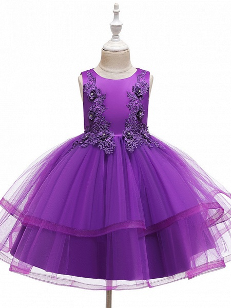 A-Line Knee Length Wedding / Party / Pageant Flower Girl Dresses - Tulle / Matte Satin / Poly&Cotton Blend Sleeveless Jewel Neck With Beading / Solid_7