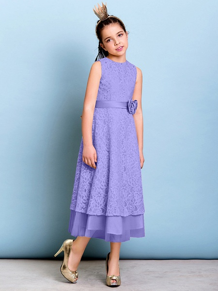 A-Line Jewel Neck Tea Length All Over Floral Lace Junior Bridesmaid Dress With Sash / Ribbon / Bow(S) / Flower / Natural_38