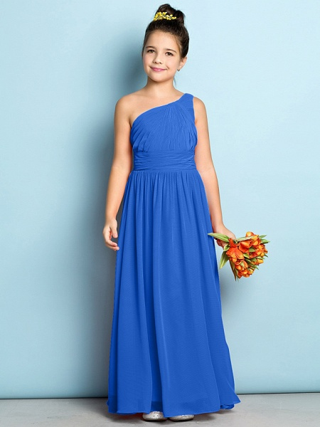 A-Line One Shoulder Ankle Length Chiffon Junior Bridesmaid Dress With Side Draping / Natural / Mini Me_32