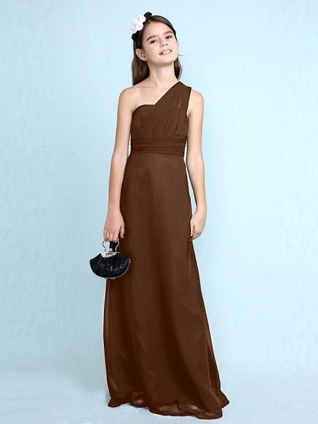 Sheath / Column One Shoulder Floor Length Chiffon Junior Bridesmaid Dress With Side Draping / Natural_26