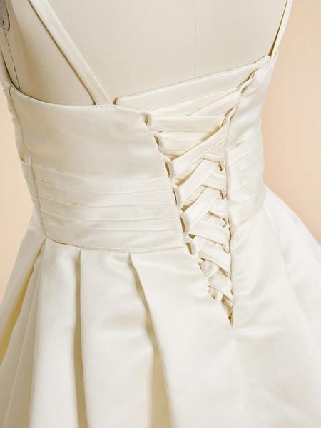 A-Line Floor Length Wedding / First Communion Flower Girl Dresses - Satin Sleeveless Spaghetti Strap With Sash / Ribbon_5