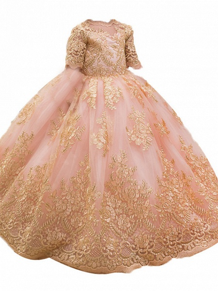 Princess / Ball Gown Floor Length Wedding / Party Flower Girl Dresses - Tulle Half Sleeve Jewel Neck With Bow(S) / Appliques_4