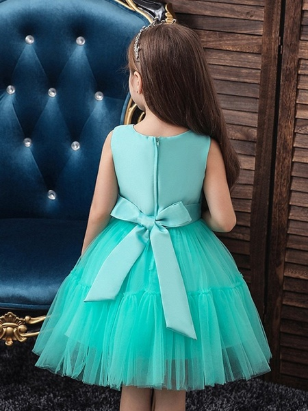 Princess / Ball Gown Knee Length Wedding / Party Flower Girl Dresses - Tulle Sleeveless Jewel Neck With Sash / Ribbon / Bow(S) / Appliques_4