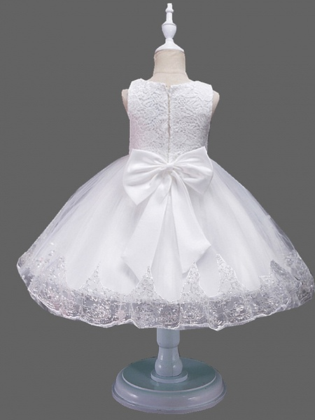 Princess Midi Wedding / Birthday Lace / Tulle Sleeveless Jewel Neck With Petal / Lace / Embroidery_4