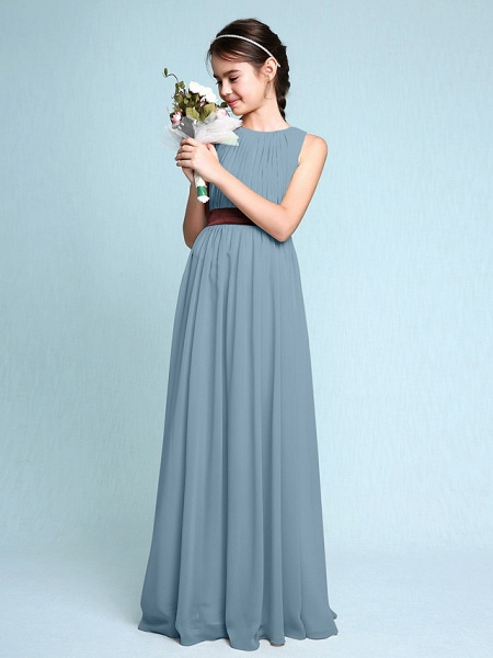 Sheath / Column Scoop Neck Floor Length Chiffon Junior Bridesmaid Dress With Draping / Natural_32