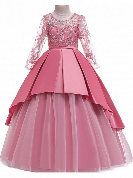 Ball Gown Floor Length Pageant Flower Girl Dresses - Polyester Long Sleeve Jewel Neck With Ruffles / Tier / Appliques_1