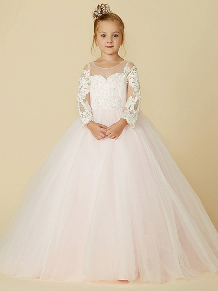 Ball Gown Court Train Wedding / Party / Pageant Flower Girl Dresses - Lace / Tulle Long Sleeve Illusion Neck With Bows / Bow(S) / Buttons_5