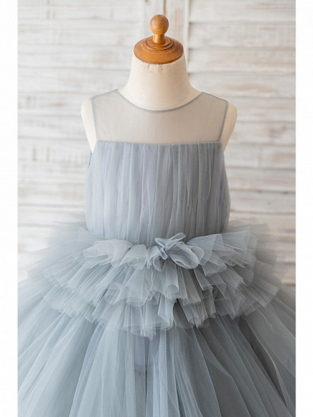 Ball Gown Knee Length Wedding / Birthday Flower Girl Dresses - Tulle Sleeveless Jewel Neck With Tier_3